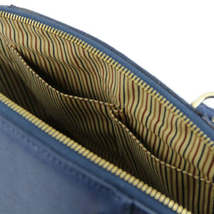 Internal Pockets View Of The Dark Blue Casual Handbag