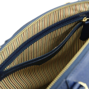Internal Zip Pocket View Of The Dark Blue Casual Handbag