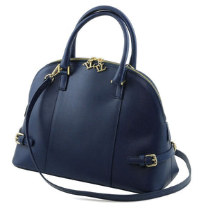 Angled And Shoulder Strap View Of The Dark Blue Casual Handbag