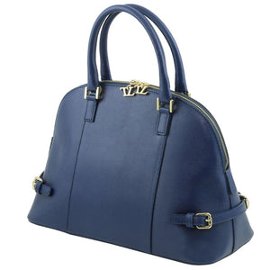 Angled View Of The Dark Blue Casual Handbag