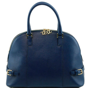 Front View Of The Dark Blue Casual Handbag