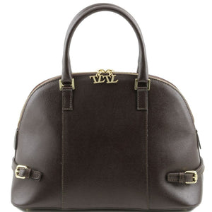 Front View Of The Dark Brown Casual Handbag