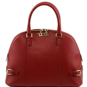 Verona Leather Handbag with Accented Buckles