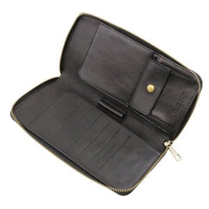 Internal Credit Card Slots View Of The Black Womens Leather Travel Wallet