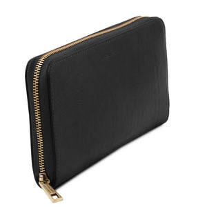Angled View Of The Black Womens Leather Travel Wallet