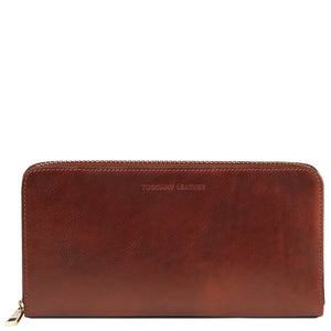 Front View Of The Brown Womens Leather Travel Wallet