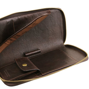 Internal Features View Of The Dark Brown Womens Leather Travel Wallet