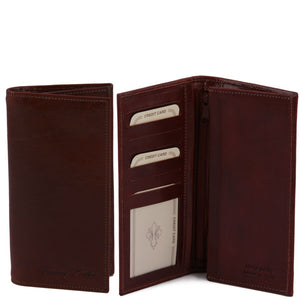 Front Open And Closed View Of The Brown Vertical Bifold Wallet