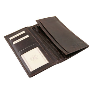 Open View Of The Dark Brown Vertical Bifold Wallet