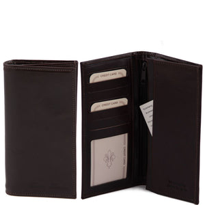 Front Open And Closed View Of The Dark Brown Vertical Bifold Wallet