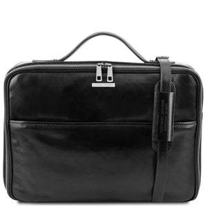Front View Of The Black Briefcase Laptop Leather