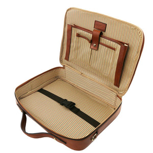 Internal Features View Of The Brown Briefcase Laptop Leather
