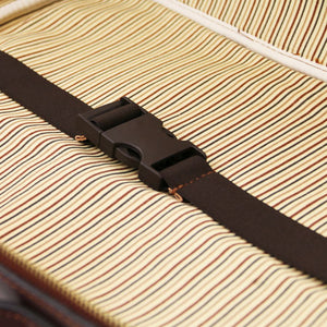 Internal Holding Strap View Of The Brown Briefcase Laptop Leather