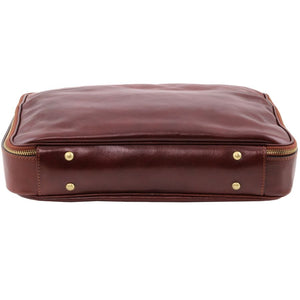 Underneath View Of The Brown Briefcase Laptop Leather