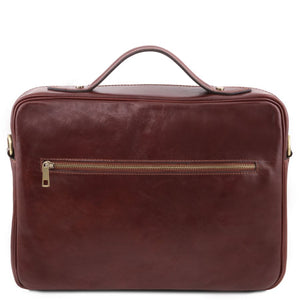 Rear View Of The Brown Briefcase Laptop Leather