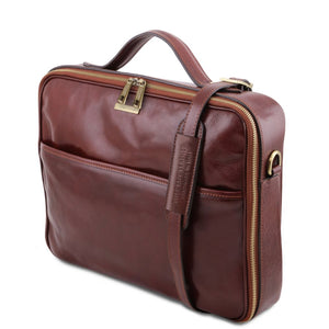 Angled And Shoulder Strap View Of The Brown Briefcase Laptop Leather