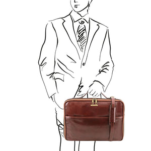 Man Posing With The Brown Briefcase Laptop Leather