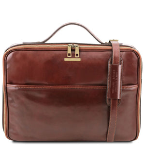 Front View Of The Brown Briefcase Laptop Leather