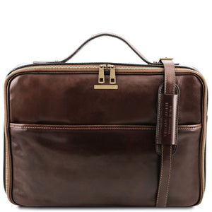Front View Of The Dark Brown Briefcase Laptop Leather
