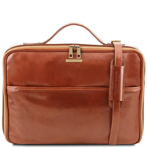 Front View Of The Honey Briefcase Laptop Leather