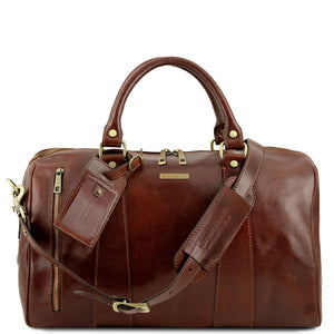 Front View Of The Brown Small Leather Duffle Bag