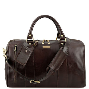 Front View Of The Dark Brown Small Leather Duffle Bag