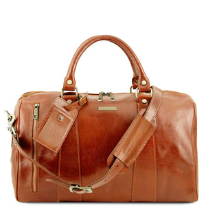 Front View Of The Honey Small Leather Duffle Bag