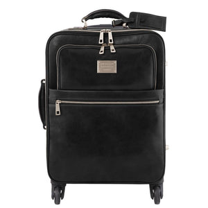 Front View Of The Black 4 Wheeled Luggage