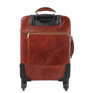 Rear View Of The Brown 4 Wheeled Luggage