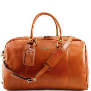 Front View Of The Honey Mens Leather Duffle Bag