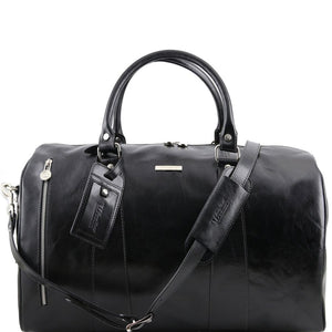 Front View Of The Black Small Leather Duffle Bag