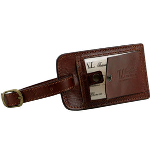 Luggage Tag View Of The Brown Small Leather Duffle Bag
