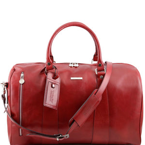 Front View Of The Red Small Leather Duffle Bag