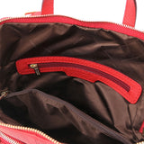 Internal Zip Pocket View Of The Lipstick Red Leather Backpack Ladies