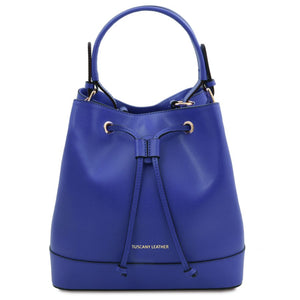 Front View Of The Blue Womens Leather Bucket Bag