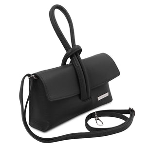 Angled And Shoulder Strap View Of The Black Womens Leather Clutch