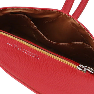 Internal Compartments View Of The Lipstick Red Womens Leather Clutch