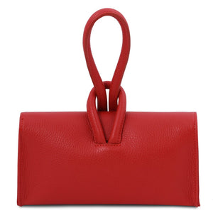 Rear View Of The Lipstick Red Womens Leather Clutch