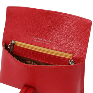 Internal Zip Pocket View Of The Lipstick Red Womens Leather Clutch