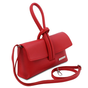 Angled And Shoulder Strap View Of The Lipstick Red Womens Leather Clutch