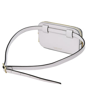 Rear View Of The White Womens Leather Fanny Pack