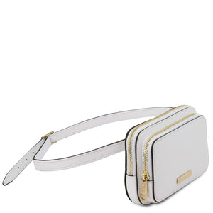 Angle View Of The White Womens Leather Fanny Pack