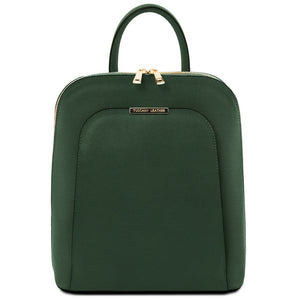 Front View Of The Forest Green Womens Leather Backpack