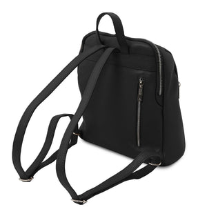 Rear View Of The Black Italian Leather Backpack