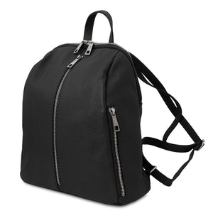 Angled And Shoulder Straps View Of The Black Italian Leather Backpack