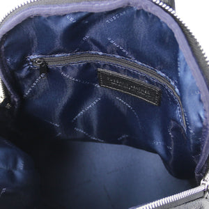 Internal Features View Of The Black Italian Leather Backpack