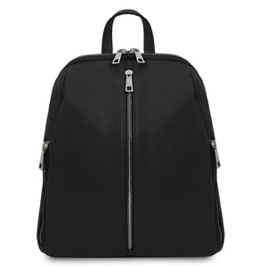 Front View Of The Black Italian Leather Backpack