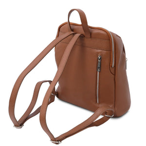 Rear View Of The Cognac Italian Leather Backpack