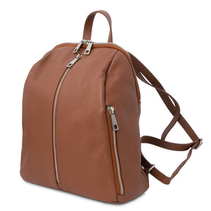 Angled And Shoulder Straps View Of The Cognac Italian Leather Backpack