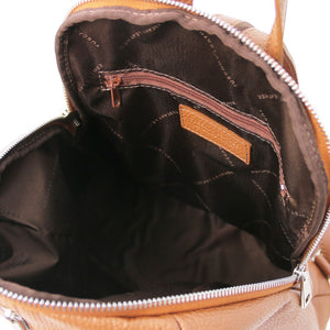 Internal Features View Of The Cognac Italian Leather Backpack